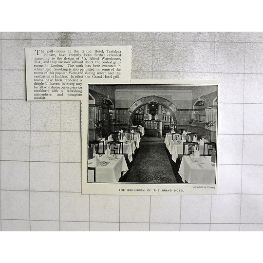1903 The Grill Room Of The Grand Hotel, Trafalgar Square