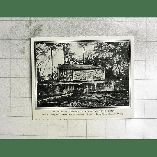 1903 The Grave Of Rl Stevenson Mountain Top In Samoa