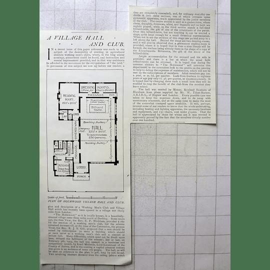 1905 Plan Of Holmwood Village Hall And Club, Near Dorking
