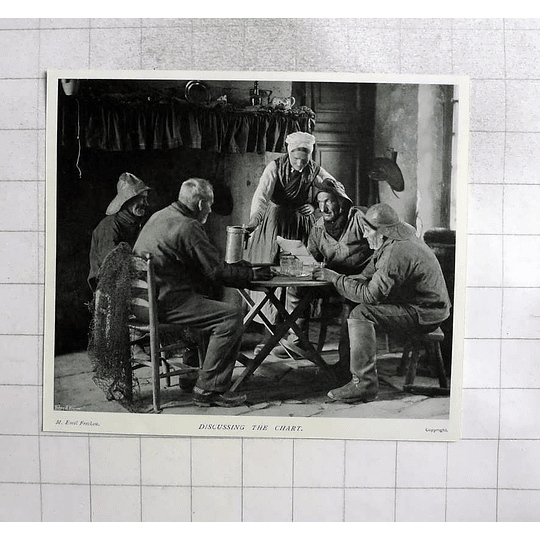 1905 Old Fisherman Discussing The Chart, Emile Frechon Photo