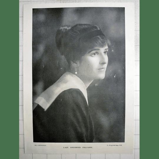 1918 Lady Rosamond Foljambe, Photo Portrait By Val L'estrange