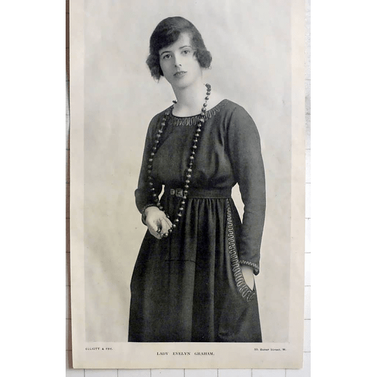 1918 Lady Evelyn Graham, Photo Portrait By Elliott And Fry