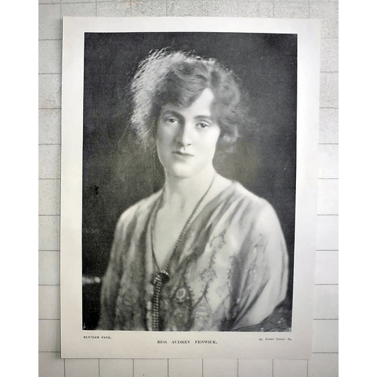 1918 Photo Portrait Of Miss Audrey Fenwick, Bertram Park