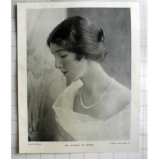 1918 Photo Portrait Of The Countess Of Cromer