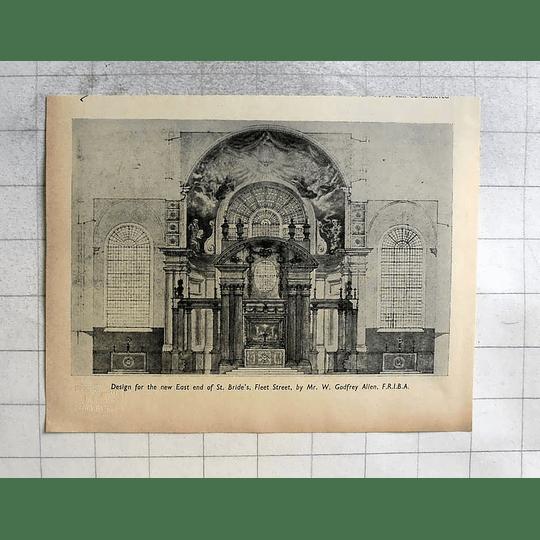 1955 Design For New East End Of St Bride's, Fleet Street, Godfrey Allen