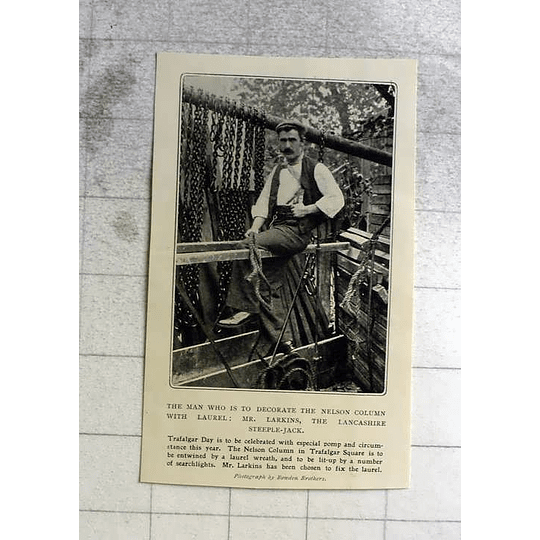 1905 Mr Larkins Lancs Steeplejack To Decorate Nelson's Column With Laurel