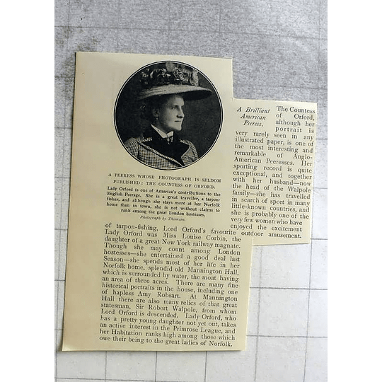 1898 Brilliant American Peeress, The Countess Of Orford