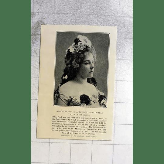 1905 Mlle Rose Noel Assassinated In Concert Hall Near Niort