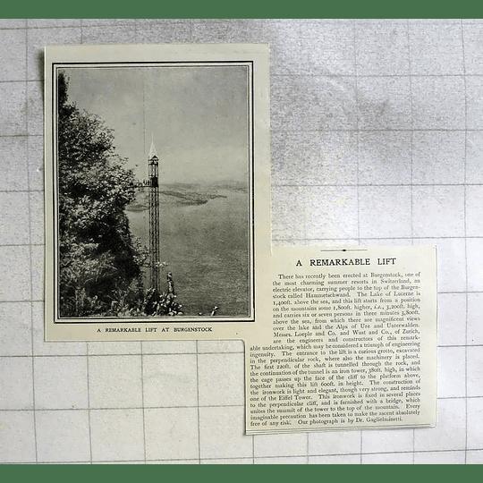 1910 Remarkable Electric Lift At Burgenstock, Lake Of Lucerne