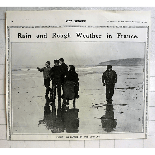 1910 French Fisherfolk On The Lookout During Rough Weather