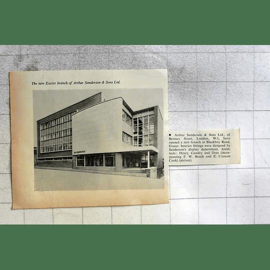 1962 New Exeter Branch Of Arthur Sanderson, Blackboy Road