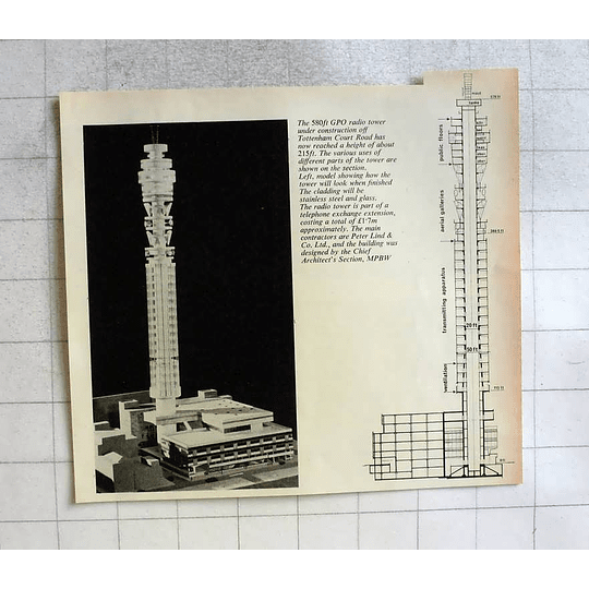 1962 Gpo Radio Tower Under Construction Off Tottenham Court Road