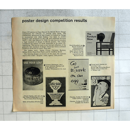 1962 Posted Design Competition Go To Work On An Egg, Use Your Loaf