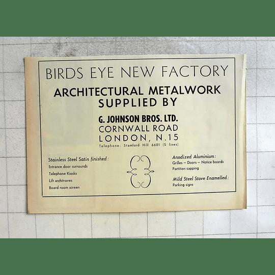 1962 G Johnson Bros Cornwall Road London Architectural Metalwork