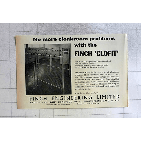1962 Finch Engineering Belvedere Works Barkingside Essex