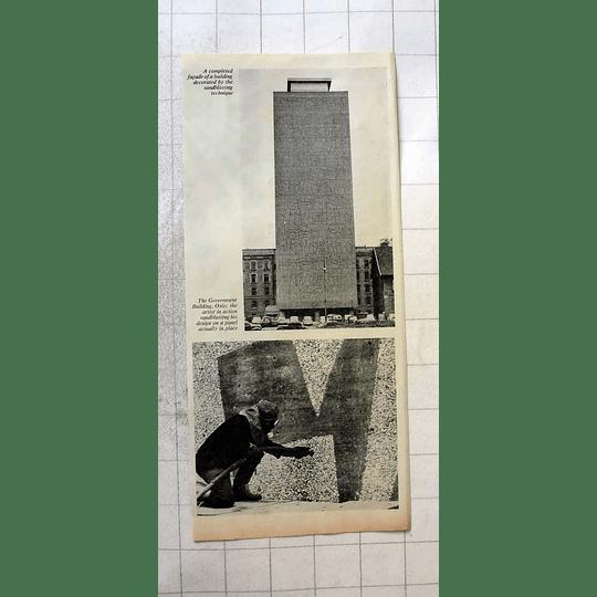 1962 Government Building Oslo Sandblast Artwork