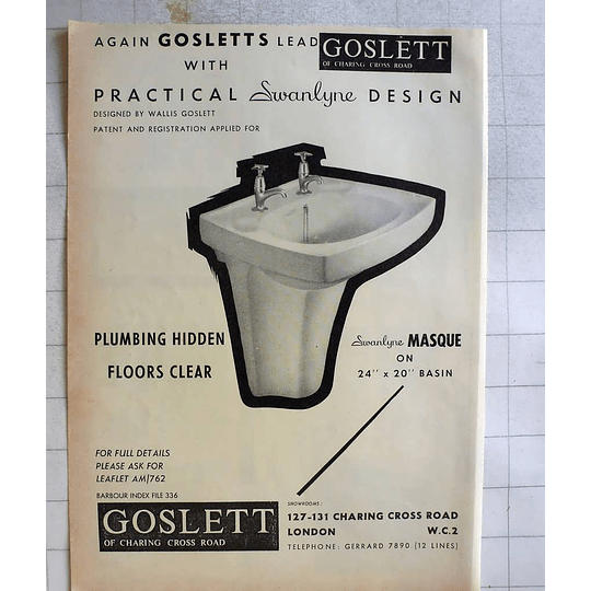 1962 Gosletts Of Charing Cross Road Practical Basin Designs