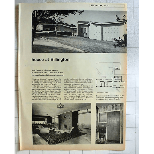 1962 Meadow Clough, Design Alan Chambers Ribble Valley