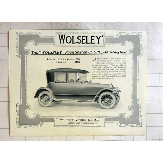 1916 Wolseley Four Seater Coupe With Folding Head, £915