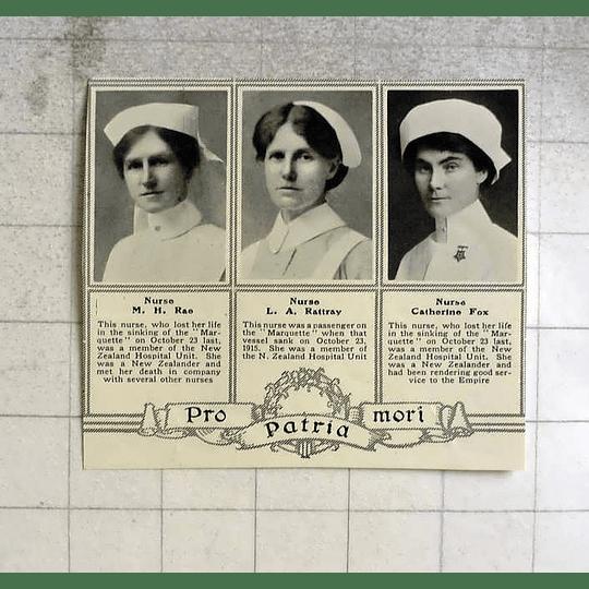1916 Nurses Lost In Sinking Marquette, Rae, Rattray, Catherine Fox
