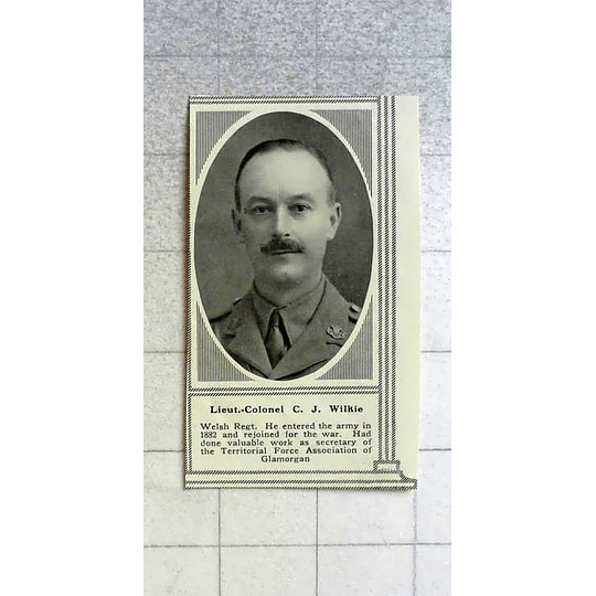 1916 Lt Col Cj Wilkie, Welsh Regiment
