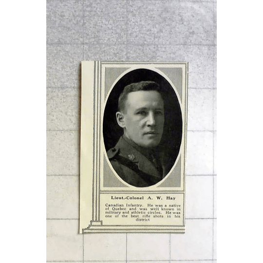 1916 Lt Col A W Hay, Canadian Infantry