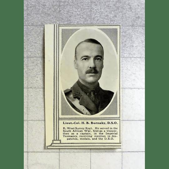 1916 Lt Col Hp Burnaby Dso