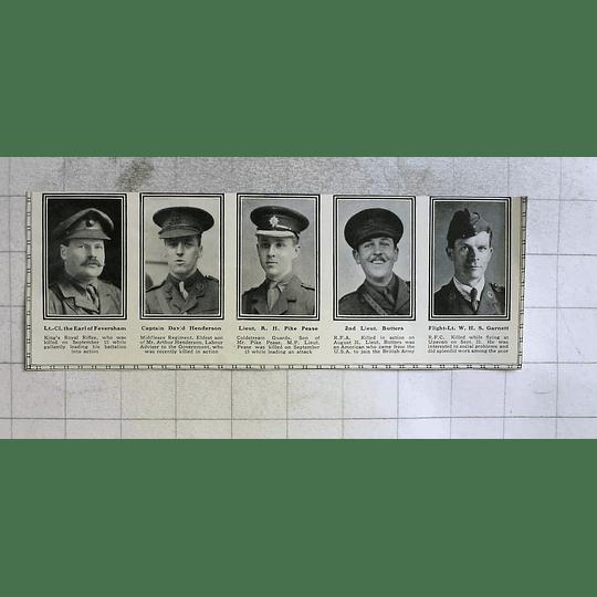 1916 Earl Of Feversham, Lt Wh Garnett Killed Even