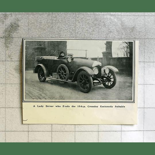 1916 Lady Driver Enjoying 15 Hp Crossley