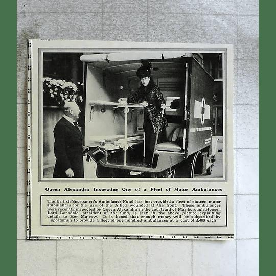 1916 Queen Alexandra Inspecting Fleet Of Motor Ambulances