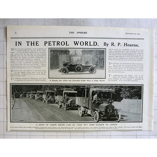 1915 Group Of Albion Motorcars Travel From Glasgow To London