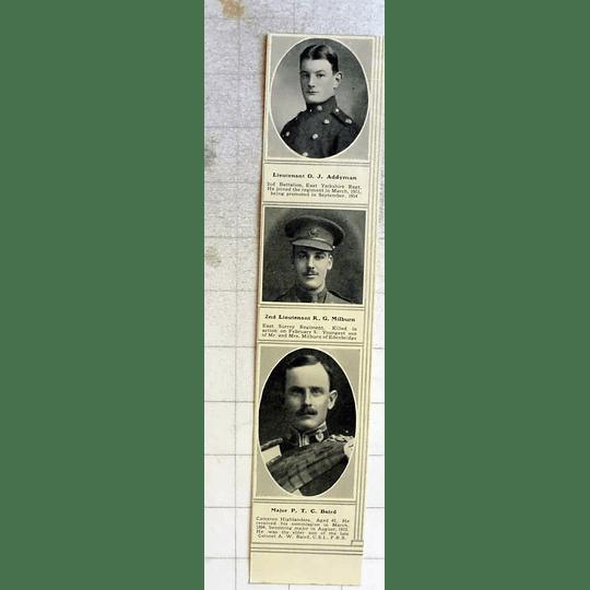 1915 Lieutenant Oj Addyman, Major P.t.c Baird Cameron Highlanders