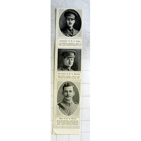 1915 Lieutenant Gm Sichel, Major Jh Powell