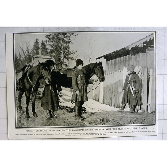 1915 Russian Orderlies Attached To The Caucasian Native Division With Horses