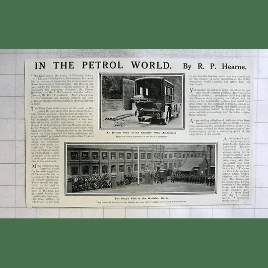 1915 Interior View Of Crossley Motor Ambulance, King Visits Wolseley Works
