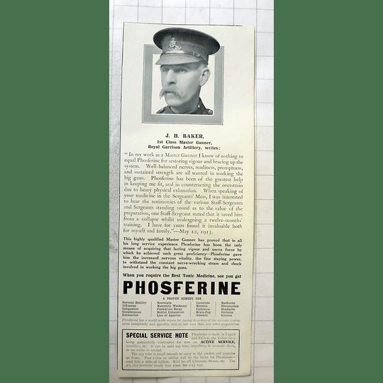 1915 Jh Baker First Class Master Gunner, Royal Garrison Artillery