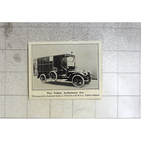 1914 Talbot Ambulance Car Specially Designed Body