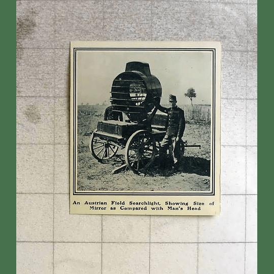 1914 An Austrian Field Searchlight Showing Size Of Mirror