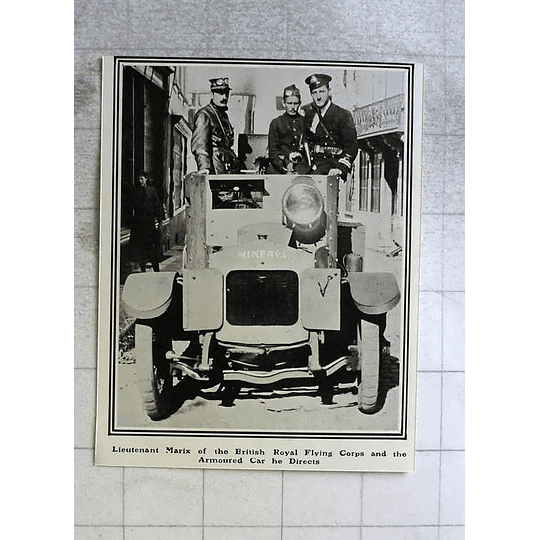 1914 Lt Marix Of British Royal Flying Corps In Armoured Car