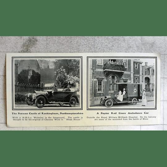 1914 Napier Red Cross Ambulance Car Outside Millbank Hospital