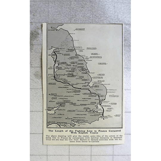 1914 Length Of Firing Line In France Compared With England Map