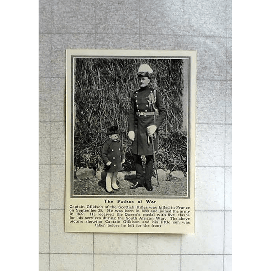 1914 Capt Gilkinson And His Little Son, Scottish Rifles, Killed In France