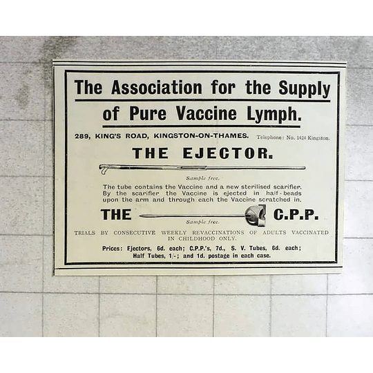 1914 Association For Supply Of Pure Vaccine Lymp, Kingston On Thames
