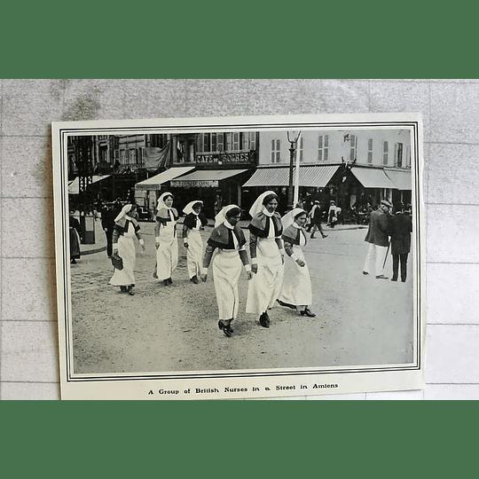1914 Group Of British Nurses In A Street In Amiens
