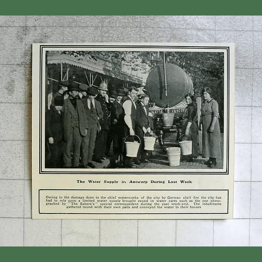 1914 Water Supply In Antwerp After German Damages