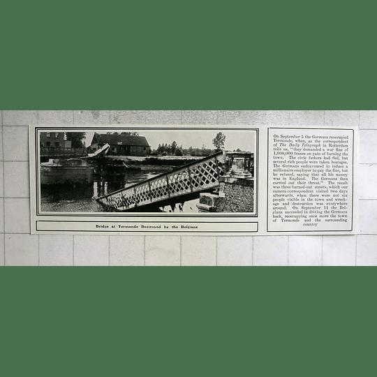 1914 Bridge At Tour Monde, Destroyed By The Belgians