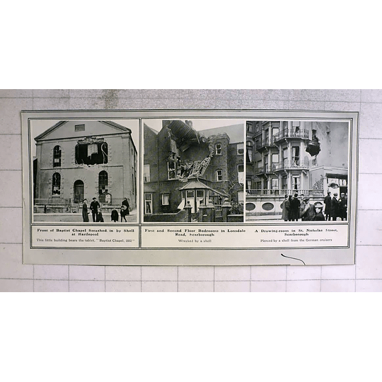 1914 Hartlepool Baptist Chapel Smashed By Shell, Scarborough Houses