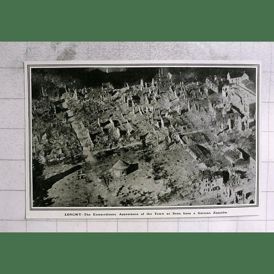 1914 Longwy, Aerial Photo Seen From German Zeppelin