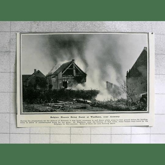 1914 Belgian Houses Burned At Waelhem Near Antwerp