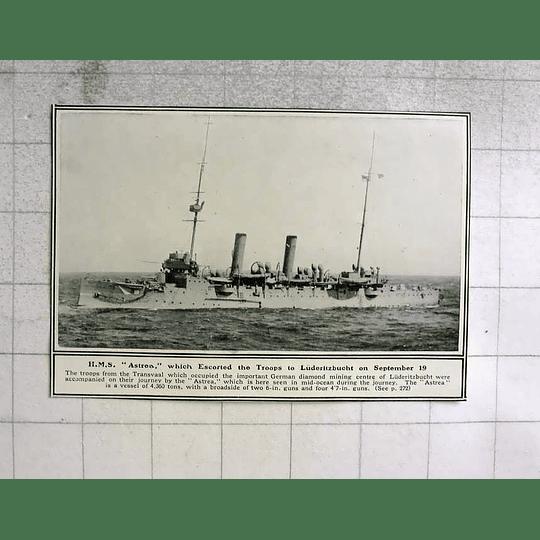 1914 Hms Astrea Escorts Troops To Luderitzbucht